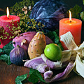 Autumnal Still Life With Candles by Silva Wischeropp