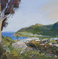 Avalon Harbor - Taking The High Road Catalina Island Oil Painting by Karen Winters