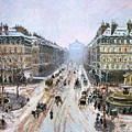 Avenue De L'opera - Effect Of Snow by Camille Pissarro