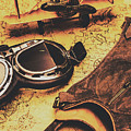 Aviator Goggles Cap And Airplane On Old World Map by Jorgo Photography - Wall Art Gallery
