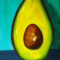 Avocado Modern Art, Kitchen Decor, Aqua Background by Patricia Awapara