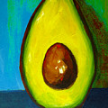 Avocado, Modern Art, Kitchen Decor, Blue Green Background by Patricia Awapara