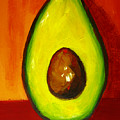 Avocado Modern Art, Kitchen Decor, Orange And Red Background by Patricia Awapara