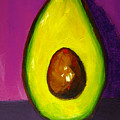 Avocado Modern Art, Kitchen Decor, Purple Background by Patricia Awapara
