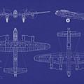 Avro Lancaster Bomber Blueprint by Michael Tompsett