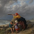 Awaiting The Return Of Fishing Boats by William Bromley