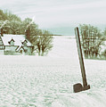 Axe In Snow Scene by Amanda Elwell