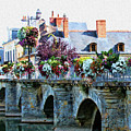 Azay-le-rideau, Loire Valley, France, Bridge With Flowers by Curt Rush