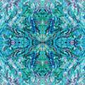 Aztec Kaleidoscope - Pattern 018 - Ocean by Julie Turner