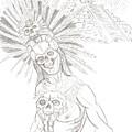 Aztec Warrior In Front Of Chicchen Itza by Americo Salazar