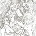 Aztec Warriors With Female by Americo Salazar