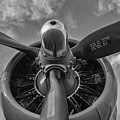 B -17 Flying Fortress Propeller Black And White by Terry DeLuco