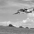 B-25 Warbird Returns - Black And White by Gill Billington