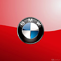 B M W Badge On Red  by Serge Averbukh