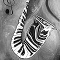 Piano Keys In A Saxophone B/w - Music In Motion by Wayne Cantrell