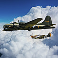 B17 Flying Fortress And P51 Mustang by J Biggadike