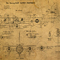 B29 Superfortress Military Plane World War Two Schematic Patent Drawing On Worn Distressed Canvas by Design Turnpike