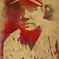Babe Ruth Baseball Player New York Yankees Vintage Watercolor Portrait On Worn Canvas by Design Turnpike