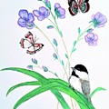 Baby Chickadee And Butterflies by Dee Grimm