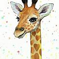 Baby Giraffe Watercolor With Heart Shaped Spots by Olga Shvartsur