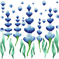 Baby Room Decor Watercolor Magic Blue Flowers Garden by Irina Sztukowski