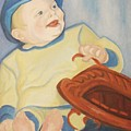 Baby With Baseball Glove by Suzanne  Marie Leclair