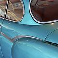 Back Side Of A Blue Vintage Car  by Oana Unciuleanu