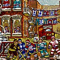 Backlane Snowy Winter Scene Hockey Game Verdun Alley Montreal Team Jerseys Canadian Art by Carole Spandau