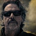 Badass Man In Sunglasses Stares Into The Unknown by Sharon Minish