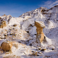 Badlands Hoodoo In The Snow by Rikk Flohr