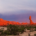Balance Rock At Sunset, Arches National Park, Utah Usa by Leah Pullen