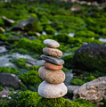 Balancing Zen Stones By The Sea II by Marco Oliveira