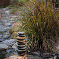 Balancing Zen Stones In Countryside River V by Marco Oliveira