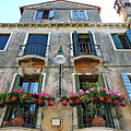 Balcony With Flowers In Venice, Italy by Richard Rosenshein