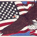 Bald Eagle And American Flag by Donald Aday
