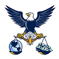Bald Eagle Hold Scales Earth Money Retro by Aloysius Patrimonio