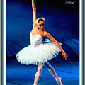 Ballerina On Stage L A With Decorative Ornate Printed Frame. by Gert J Rheeders