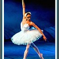 Ballerina On Stage L B With Decorative Ornate Printed Frame. by Gert J Rheeders