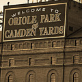 Baltimore Orioles Park At Camden Yards Sepia by Frank Romeo