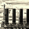 Baltimore Power Plant Guitar Stacks Monochrome by Bill Swartwout Photography