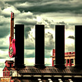 Baltimore Power Plant Guitar Stacks Moody Red by Bill Swartwout Photography