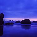 Bandon Beach Oregon Blue Sunset by Vishwanath Bhat