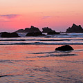 Bandon Beach Sunset Silhouette by Jean Noren