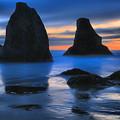 Bandon Sunset Surf by Adam Jewell