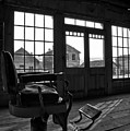 Bannack Barber Chair Sunset Black And White by Adam Jewell