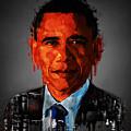 Barack Obama Acrylic Portrait by Georgeta Blanaru