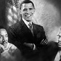 Barack Obama Martin Luther King Jr And Malcolm X by Ylli Haruni