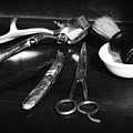 Barber - Things In A Barber Shop - Black And White by Paul Ward