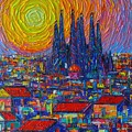 Barcelona Colorful Sunset Over Sagrada Familia Abstract City Knife Oil Painting Ana Maria Edulescu by Ana Maria Edulescu