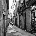 Barcelona Small Streets Bw by Chuck Kuhn